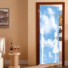 exterior door stickers. fancy bluesky and lovers print enviromental removable door stickers exterior