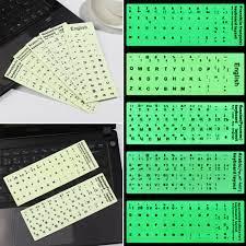 Stiker Film Pelindung Keyboard Laptop Huruf Bahasa Inggris Rusia Spanyol  Luminous Tahan Lama