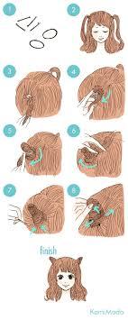 海外で人気猫耳ヘアアレンジイラスト付きー髪のお悩みやケア方法の