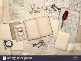 open book vine accessories old letters post cards gles keys clock nostalgic background