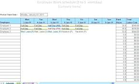 Free Printable Employee Schedule Template Monthly Excel Blank Work
