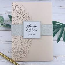 Wedding Invitation Folder Beautiful Luxury Blush Laser Cut Wedding Invitation Folder Invitation Rsvp Suite Die Cut Cheap Birthday Cards Christmas Birthday Card From Hibooth