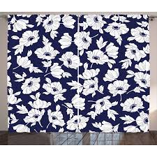 Navy and White Curtains 2 Panels Set, Botanical Arrangement with Poppies in White Simple Feminine Corsage, Window Drapes for Living Room Bedroom, 108W ...