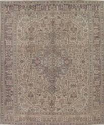 antique geometric muted persian rug 9x12 light brown distressed wool carpet