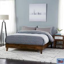 Exceptional ... Queen Size Wood Bed Frame Platform Walnut Brown