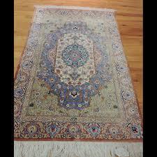 splendid semi antique signed persian qum rug 2 x 4