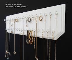 Hanging Necklace Organizer Amazoncom 6x20 White 37 Silver Jewelry Organizer Necklace