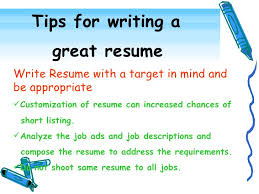 tips on writing resumes