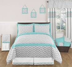 Captivating JOJO TURQUOISE GRAY ZIG ZAG BOY GIRL TEEN FULL QUEEN SIZED CHEVRON BEDDING  SET