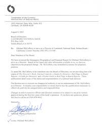 Disapproval Letter Landmark National Bank FounderDirector Michael McCafferty 1