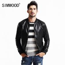 simwood 2017 new spring pu leather jacket men fashion casual coats overcoats zipper brand clothing p61691 brand leather jacket men fashion leather jackets