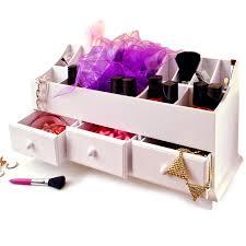White Makeup Organizer Wooden Desk Tidy Organiser Caddy Pen Holder Tidy Make Up Drawers