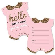 Baby Shower Invitation Cards Hello Little One Pink And Gold Shaped Fill In Invitations Girl Baby Shower Invitation Cards With Envelopes Set Of 12