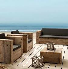 wooden outdoor furniture with cushions