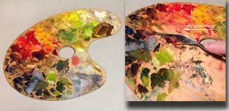 dried paint on palette