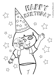 Small Picture Dora Happy birthday coloring pages for kids printables