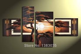 hand painted 4 piece pine tree canvas art sunset landscape oil painting modern abstract wall pictures set for home decor on 4 piece wall art set with hand painted night street landscape oil painting modern abstract 5