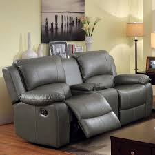 carbon loft kelvin grey bonded leather reclining loveseat with console on free today 20254901