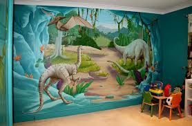 Bedrooms:Fun Kids Bedroom With Jurassic Wall Mural And Cute Kids Table Feat  Colorful Kids