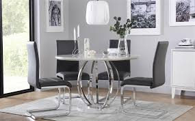 gallery savoy round white marble and chrome dining table with 4 perth grey chairs