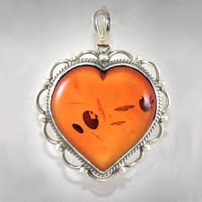 sterling silver large amber heart