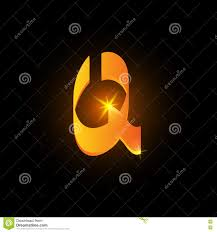 Golden arabic style letter q. Shiny latin alphabet element icon on black  background. Oriental