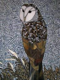 stained glass owl mosaic snowy patterns