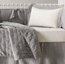 grey linen crib set washed organic nursery bedding restoration hardware