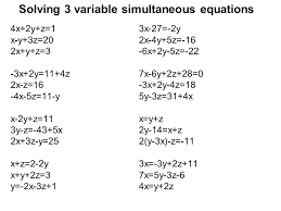 solving 3 variable simultaneous equations
