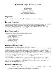 Business Management Resume Resumes Career Objective Examples Job