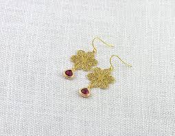 gold flower chandelier earrings bridesmaids earrings ruby teardrop earrings gold jewellery red earrings