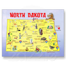 North Dakota State Map Post Card