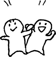 二人でガッツポーズ かわいいゆるい無料イラストてがきですのβ