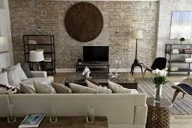 brick bedroom furniture. modern industrial bedroom interior design featuring brick wall scheme with wooden big circle clock furniture