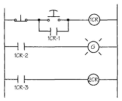 drafting for electronics motors and control circuits part 1 16 simple control circuit two relays three sets of contacts two switches and an indicator light