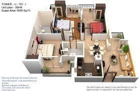 1700 sq ft apartment 3d plans google