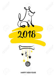 chinese character for happy new year set of sketch image dog puppy symbol chinese happy new year