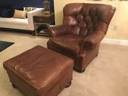 club chair and ottoman. Image Is Loading Ralph-Lauren-Henredon-Brown-Genuine-Leather-Writer-039- Club Chair And Ottoman T
