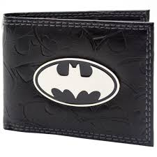 details about official dc batman embossed symbols black id and card bi fold wallet second