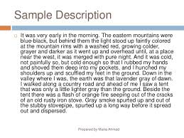 descriptive writing similes  analogies prepared by maria ahmad 18 sample description