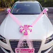 2019 wedding car decorative flowers wreaths artificial flowers car decoration sets silk flower pearl garland wedding accessories from flaminglily