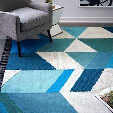 west elm blue rug best modern wool rugs hand