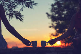 Image result for drinking coffee during sunrise