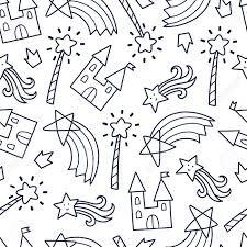 落書きかわいいシームレス パターンモノクロのベクトルの背景城魔法の杖虹のイラストt