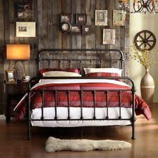 Metal Bed King Size Frame Headboard Footboard Antique Wrought Iron Victorian