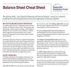 Nonprofit Balance Sheet Cheat Sheet – Edward Leary