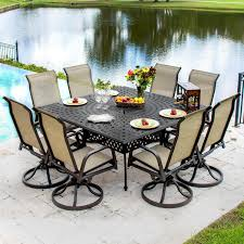 madison bay 9 piece sling patio dining set with swivel rockers and square table by lakeview outdoor designs ultimate patio
