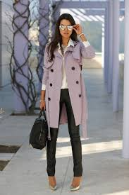 trench coat with on down shirt and leather trousers