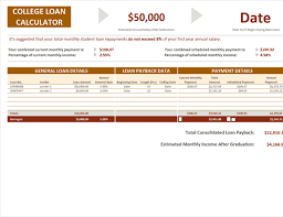 student loan caluclator college loan calculator office templates