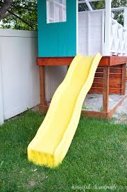 our diy playhouse the slide climbing